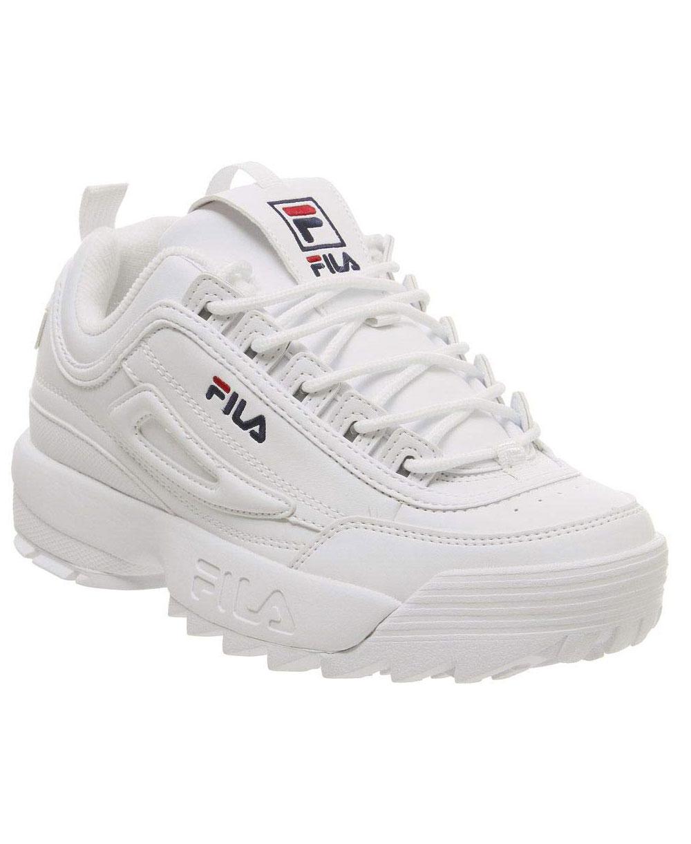 low priced 5dc32 6bc84 Dettagli su Fila - Disruptor II Letter Scarpe Sneakers Donna White