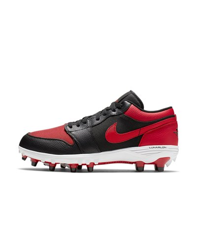 Men's Jordan 1 TD Low American Football Cleats Black/Varsity Red