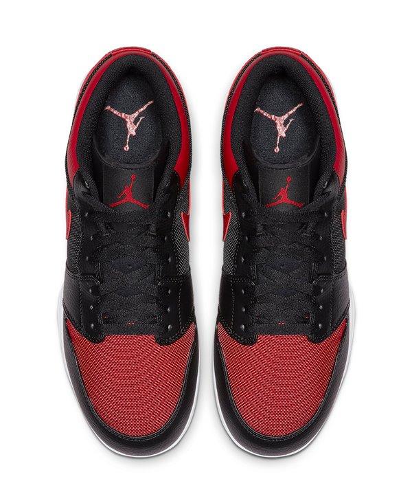 Men's Jordan 1 TD Low American Football Cleats Black/Varsity Red