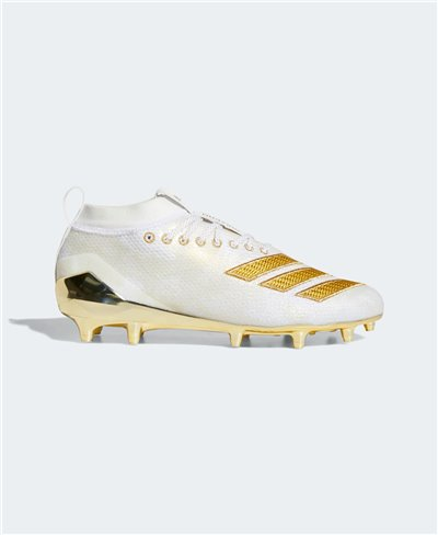 Men's Adizero 8.0 American Football Cleats Cloud White/Gold Metallic