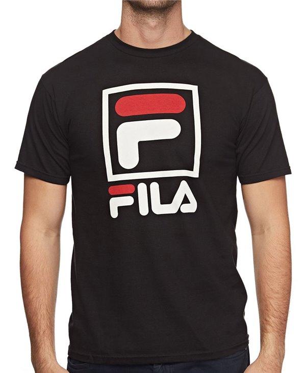 Herren T-Shirt Stacked Black