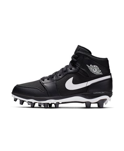 Men's Jordan 1 TD Mid American Football Cleats Black/White
