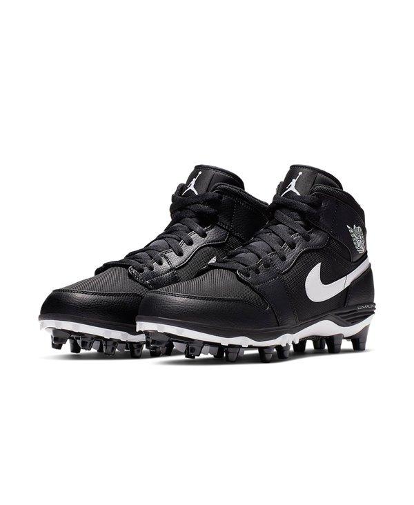 Jordan 1 TD Mid Zapatos de Fútbol Americano para Hombre Black/White