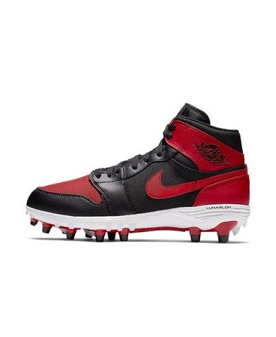 Jordan 1 TD Mid Zapatos de Fútbol Americano para Hombre Black/Varsity Red
