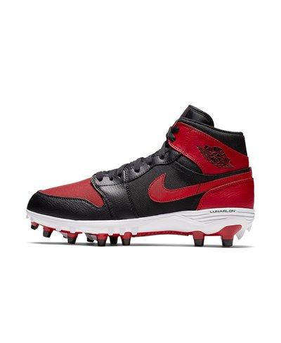Men's Jordan 1 TD Mid American Football Cleats Black/Varsity Red