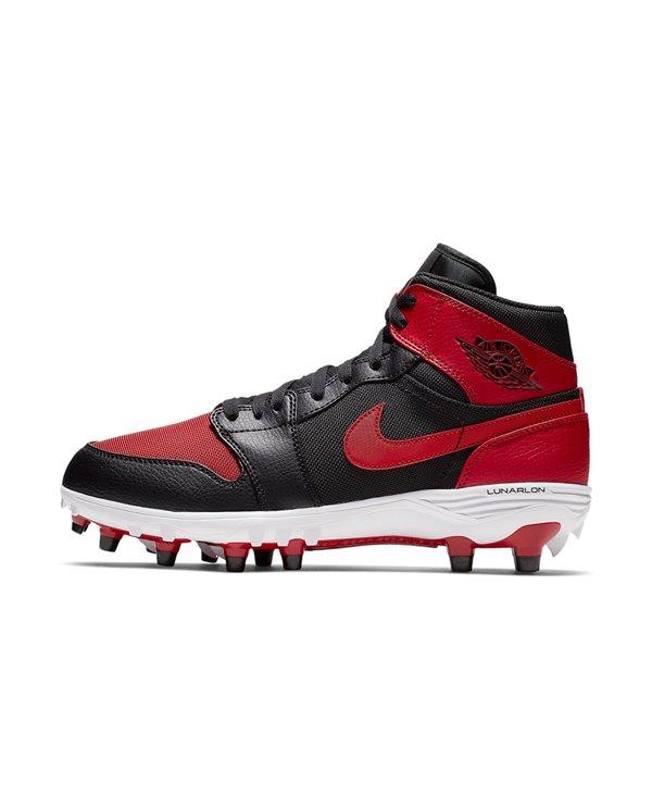Jordan 1 TD Mid Scarpe da Football Americano Uomo Black/Varsity Red