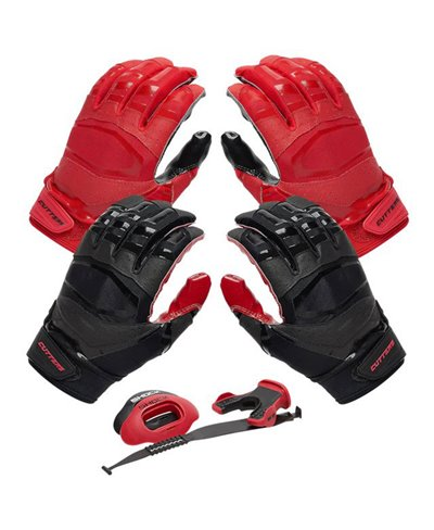 Rev Pro 3.0 Solid Flip Combo Pack Men's Football Gloves Red/Black pack of 2
