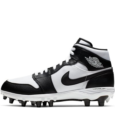Men's Jordan 1 TD Mid American Football Cleats White/Black/Black