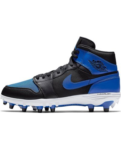 Men's Jordan 1 TD Mid American Football Cleats Black/Blue