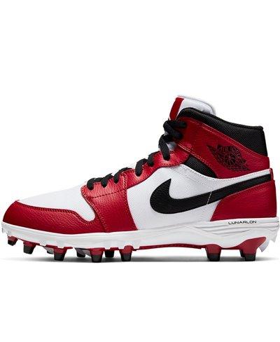 Jordan 1 TD Mid Zapatos de Fútbol Americano para Hombre White/Black/Varsity Red