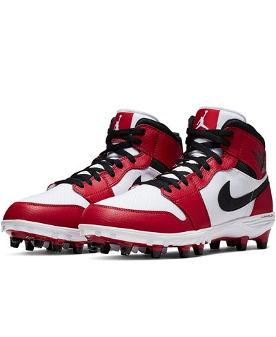 Men's Jordan 1 TD Mid American Football Cleats White/Black/Varsity Red