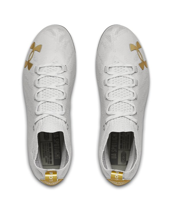 Herren UA Spotlight Lux MC American Football Shuhe White/Gold