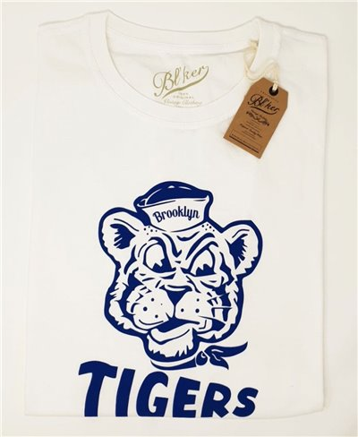 Herren Kurzarm T-Shirt Brooklyn Tiger White