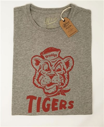 Brooklyn Tiger Camiseta Manga Corta para Hombre Heather Grey