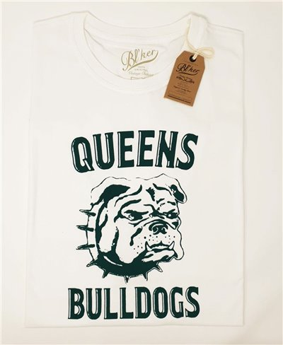 Herren Kurzarm T-Shirt Queens Bulldog White