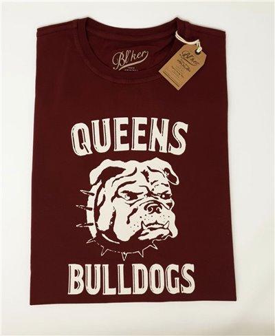 Queens Bulldog Camiseta Manga Corta para Hombre Bordeaux