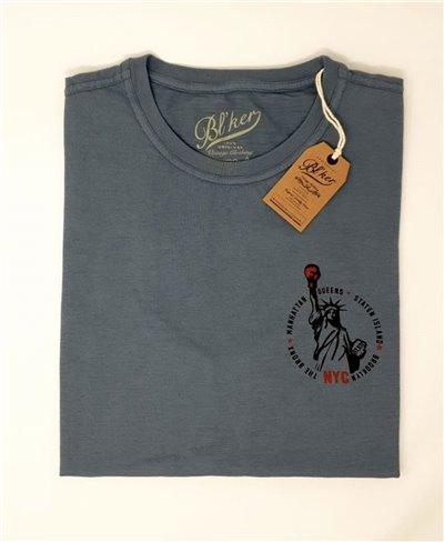 Herren Kurzarm T-Shirt Statue of Liberty Petroleum