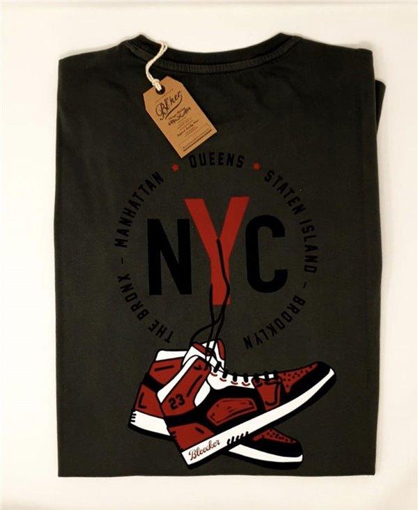 Men's Short Sleeve T-Shirt NY Jump Faded Black