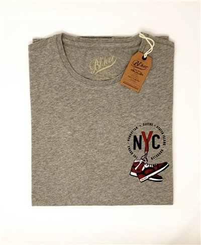 Herren Kurzarm T-Shirt NY Jump Heather Grey