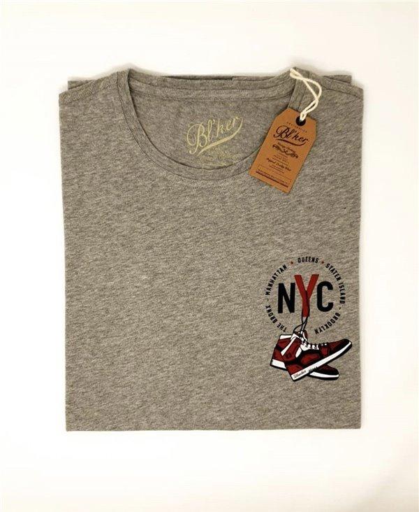 NY Jump Camiseta Manga Corta para Hombre Heather Grey
