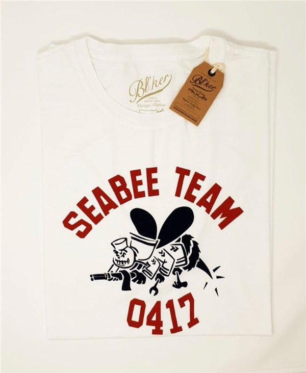 Seabees Team Camiseta Manga Corta para Hombre White
