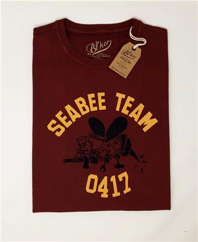 Herren Kurzarm T-Shirt Seabees Team Bordeaux