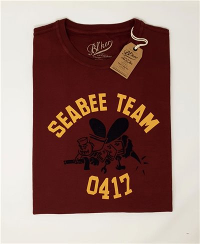 Seabees Team T-Shirt Manica Corta Uomo Bordeaux