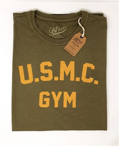 Men's Short Sleeve T-Shirt USMC Gym Military Green