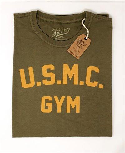 Men's Short Sleeve T-Shirt USMC Gym Military Green