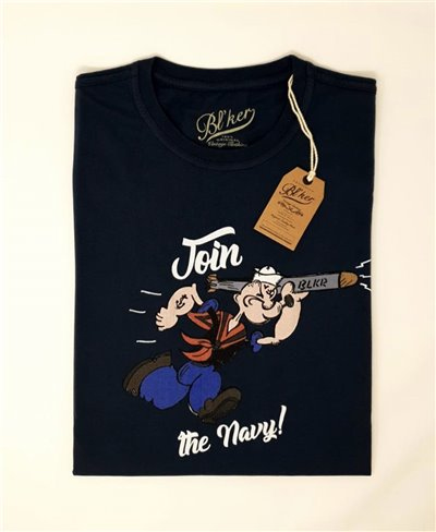 Herren Kurzarm T-Shirt Popeye Navy