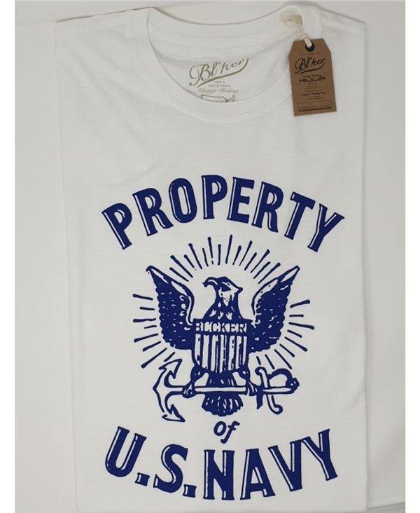Herren Kurzarm T-Shirt Property USN White