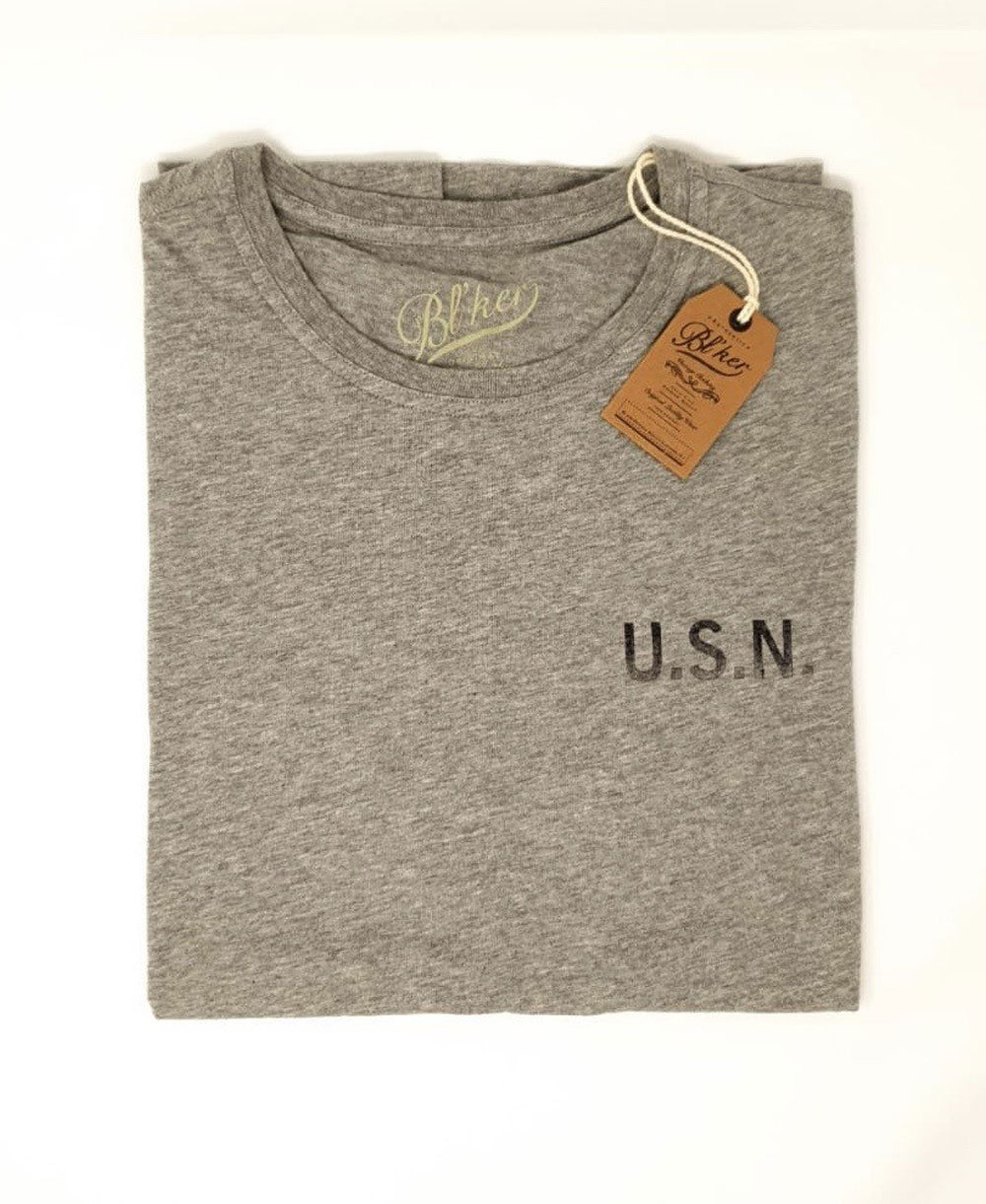 USN T-Shirt à Manches Courtes Homme Heather Grey