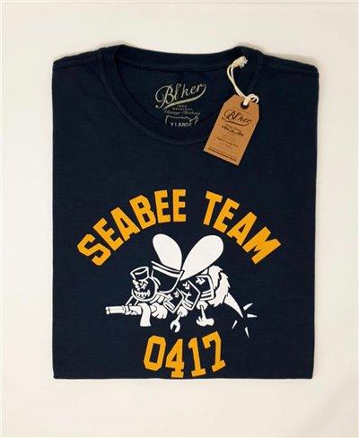 Seabees Team Camiseta Manga Corta para Hombre Navy