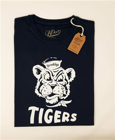 Men's Short Sleeve T-Shirt Brooklyn Tiger Navy