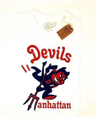 Herren Kurzarm T-Shirt Devils Manhattan White