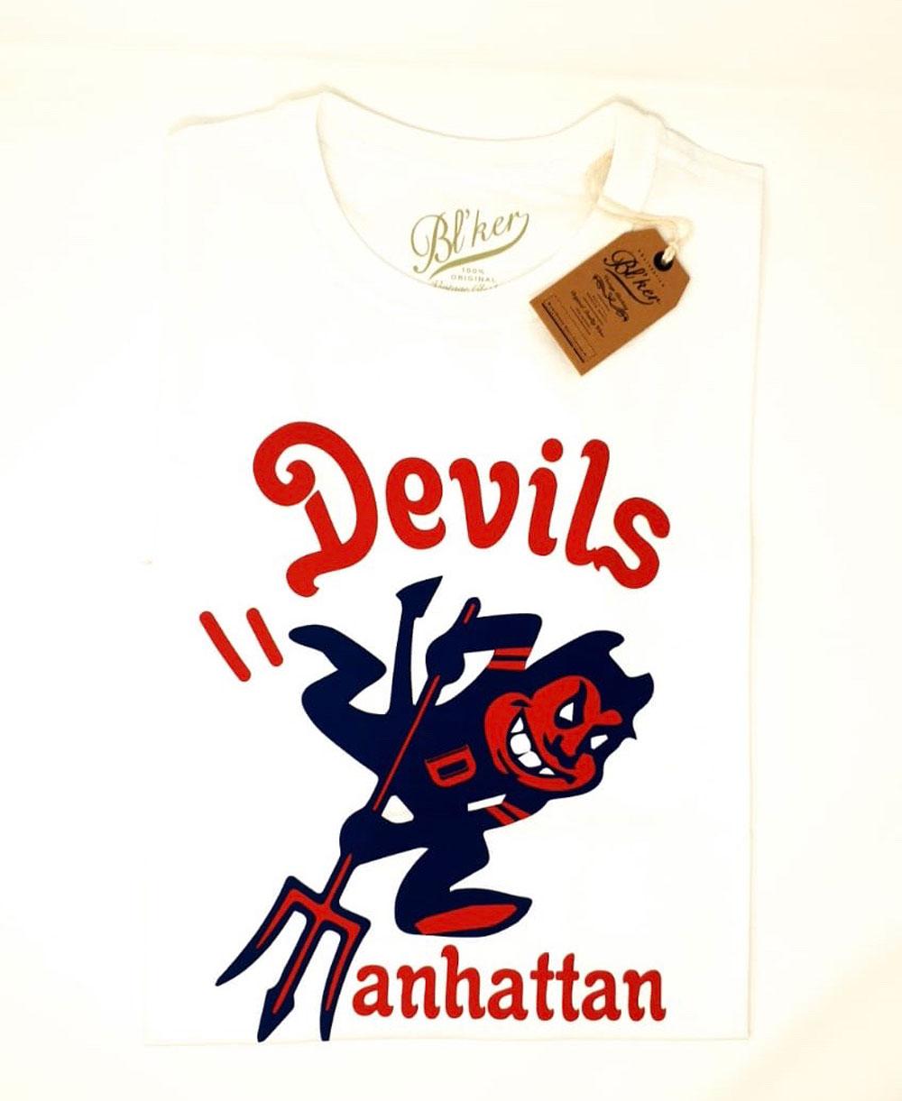Men's Short Sleeve T-Shirt Devils Manhattan White
