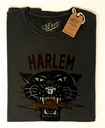 Harlem Panthers T-Shirt Manica Corta Uomo Faded Black