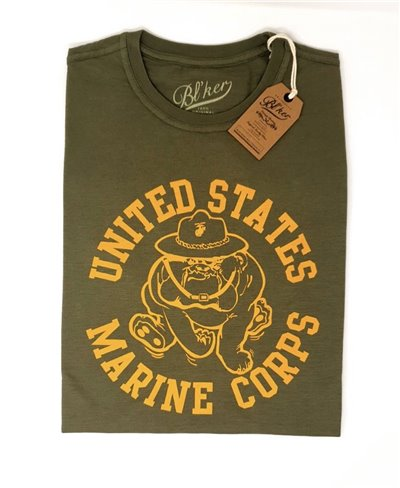 Men's Short Sleeve T-Shirt USMC Bulldog Military Green