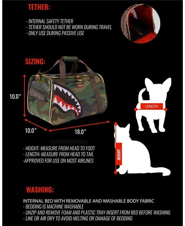 Bolsa de Viaje Gatos o Perros Camo Shark