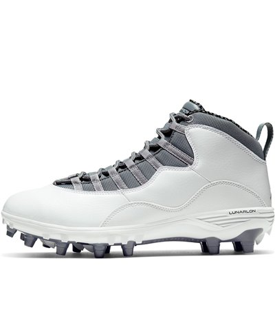 Men's Jordan 10 TD Mid American Football Cleats White
