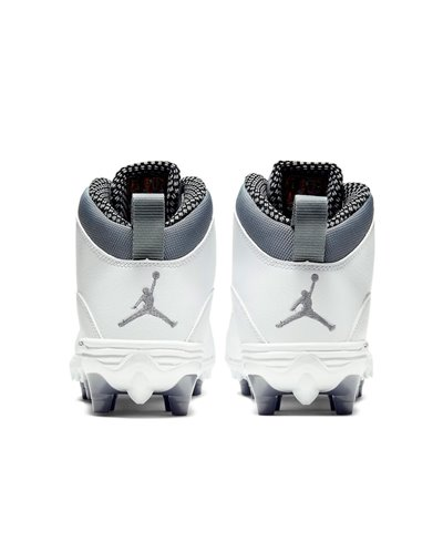 Men's Jordan 10 TD Mid American Football Cleats White