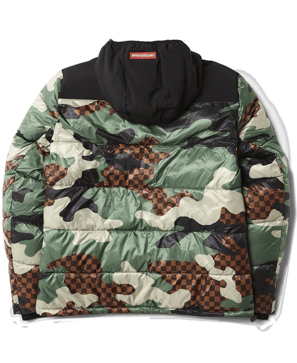 Men's Jacket Checkered Camo Puffer