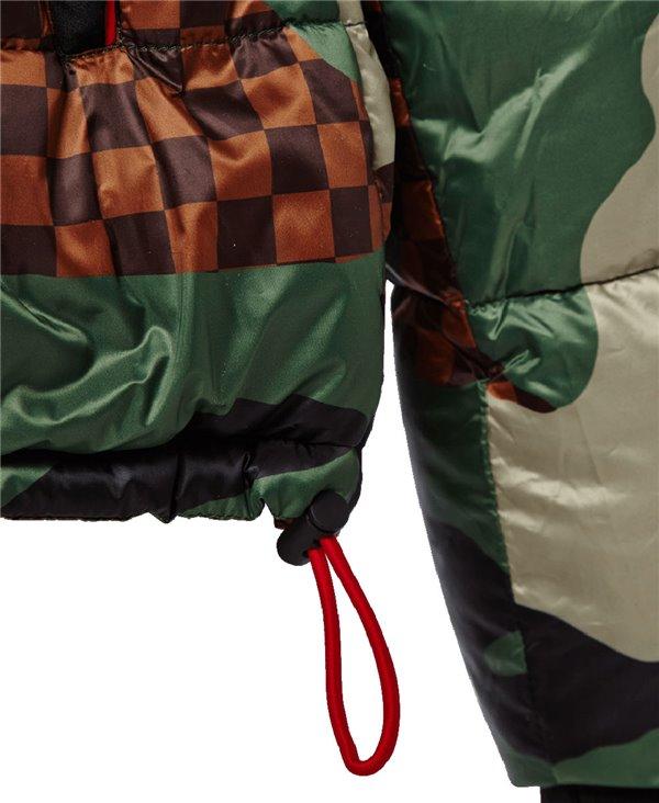 Checkered Camo Puffer Veste Homme