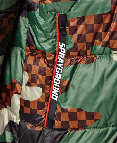 Checkered Camo Puffer Chaqueta para Hombre