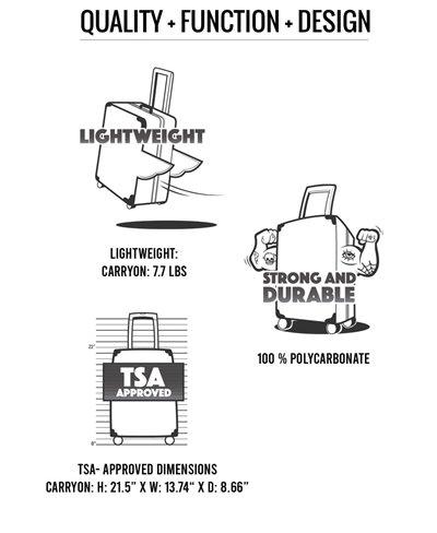 Maleta Sharkitecture Carry-On con 4 Ruedas Black con Candado TSA
