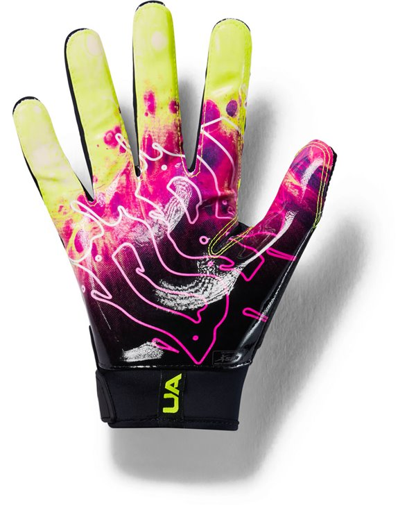 New Under Armour Men/'s Black//Black//White Spotlight Leather WR Football Gloves