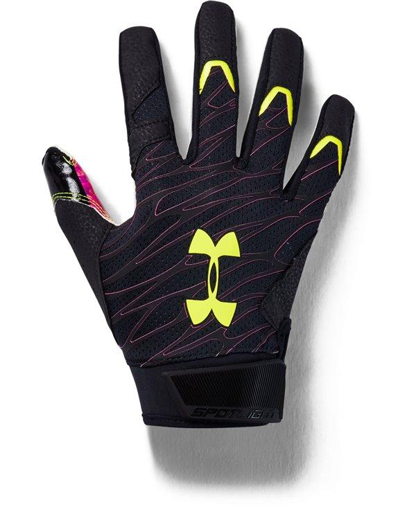 UA Spotlight LE Men's Football Gloves Black/X-Ray