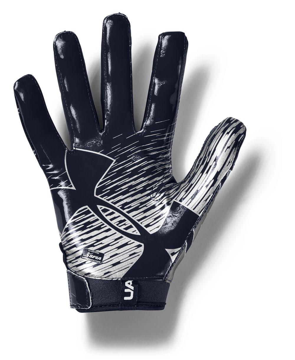 UA F7 Guantes Fútbol Americano para Hombre Midnight Navy/Metallic Silver