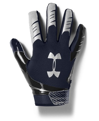 UA F7 Men's Football Gloves Midnight Navy/Metallic Silver