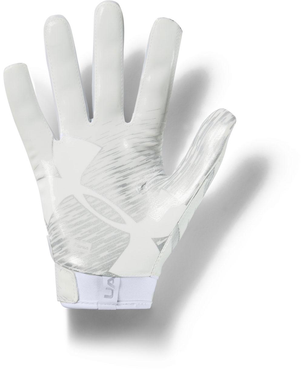 UA F7 Gants Football Américain Homme White/Metallic Silver